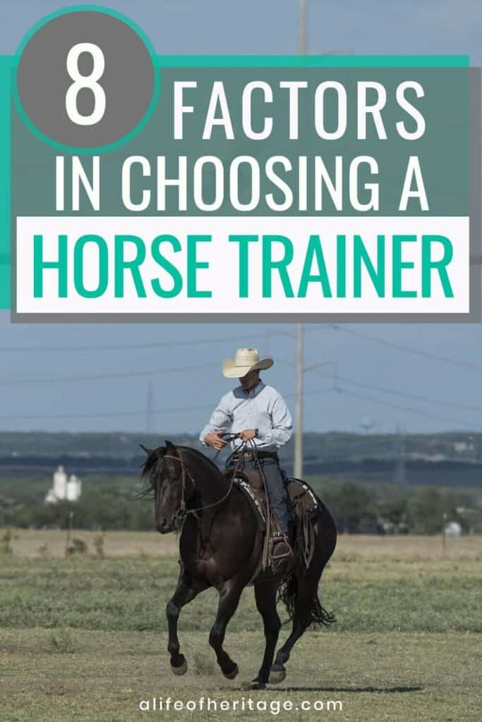 learn how to choose a horse trainer. Cowboy riding a black horse