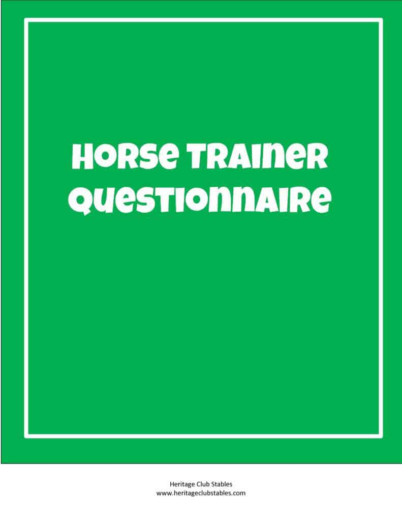 thumbnail of Horse Trainer Questionnaire
