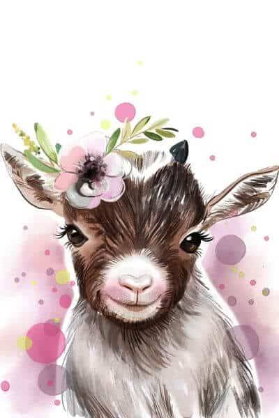 Goat kid pastel drawing