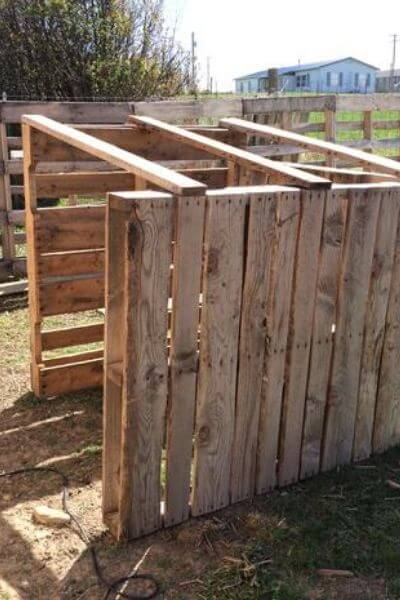 Pallet goat house with no roof yet