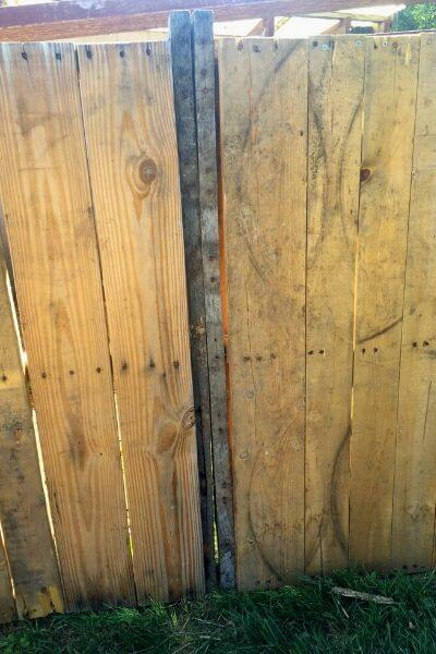 Back side of two pallets screwed together